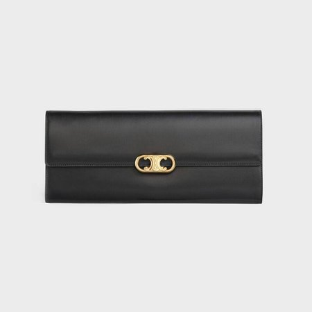 Maillon Triomphe Clutch bag in shiny calfskin Black