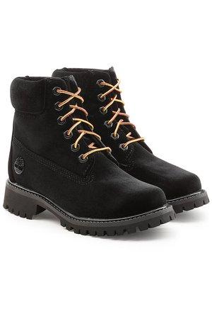 Off-White - x Timberland Velvet Ankle Boots - black