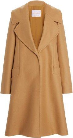 Carolina Herrera Wide Lapel Wool Coat