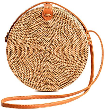 Rattan Bags for Women - Handmade Wicker Woven Purse Handbag Circle Boho Bag Bali: Handbags