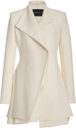 Brandon Maxwell Layered Wool Silk Blazer Dress