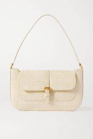 Miranda Croc-effect Leather Shoulder Bag - Beige