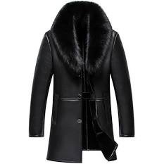 mens black leather jacket with fur collar - Google Search