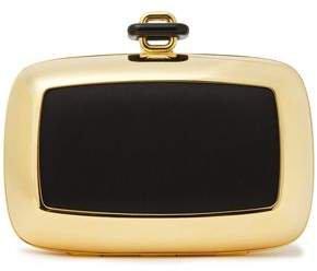 Satin-paneled Gold-tone Clutch