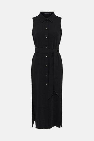 Soft Tailored Sleeveless Side Button Dress | Karen Millen