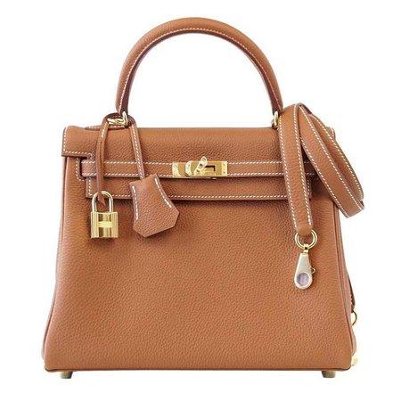 Hermes Kelly 25 Retourne Bag Coveted Gold Togo Gold Hardware For Sale at 1stdibs
