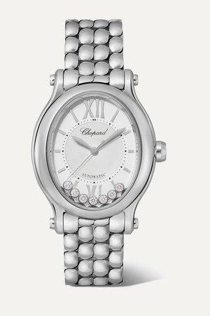 Chopard | Happy Sport Oval Automatic 29mm stainless steel and diamond watch | NET-A-PORTER.COM
