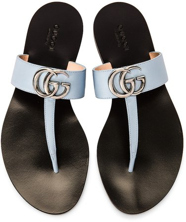 Marmont Leather Thong Sandals in Porcelain Light Blue | FWRD