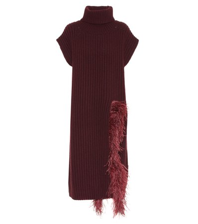 Valentino, Feather-trimmed wool-blend midi dress