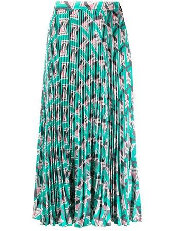 MSGM geometric pattern pleated midi skirt - FARFETCH