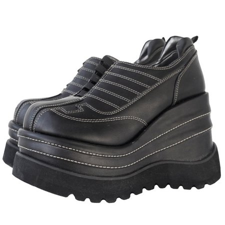 90S GRUNGE BOOTS / wedge / vegan platform black boots GOTH /   Etsy
