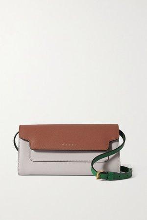 Trunk Color-block Textured-leather Shoulder Bag - Brown