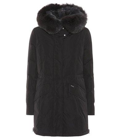 City fur-trimmed down coat