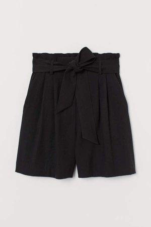 Tie-belt Shorts - Black