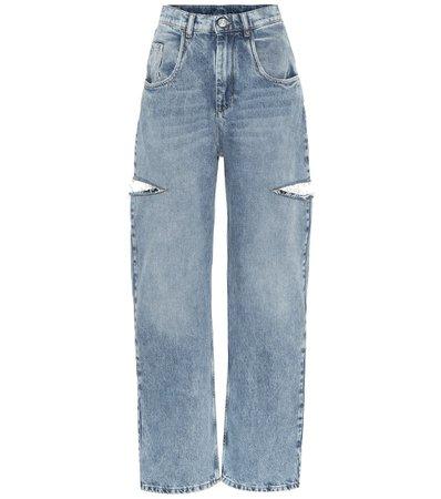 Maison Margiela - Cut-out high-rise wide-leg jeans | Mytheresa