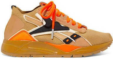 Reebok X  Bolton Suede And Leather-trimmed Stretch-knit Sneakers - Saffron