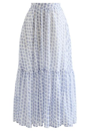 Tender Floral Frill Hem Maxi Skirt in Blue - Retro, Indie and Unique Fashion