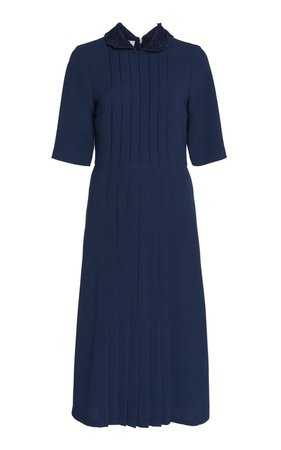 Pleated Crepe Midi Dress by Luisa Beccaria   Moda Operandi