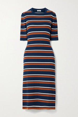 Striped Ribbed Wool-blend Midi Dress - Navy