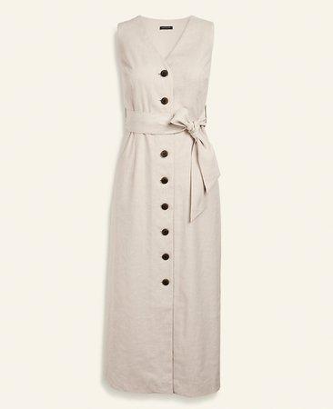 Linen Blend Button Pocket Shirtdress | Ann Taylor