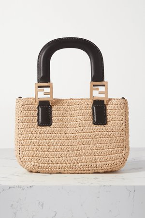 Neutral Mini leather-trimmed raffia tote | Fendi | NET-A-PORTER
