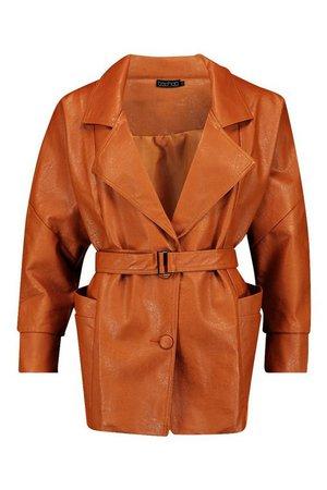 Belted Wrap Faux Leather Jacket | Boohoo UK
