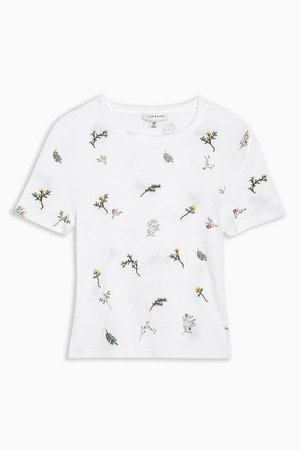 White Floral Print T-Shirt | Topshop