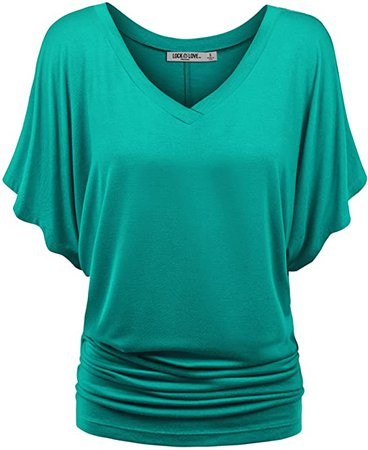 Lock and Love Women's Solid Short Sleeve Boat Crew Neck V Neck Dolman Top XS - 5XL Plus Size at Amazon Women's Clothing store