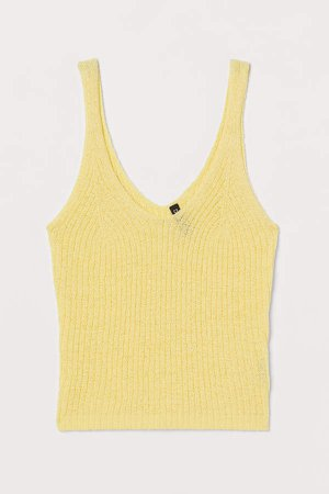 Rib-knit Tank Top - Yellow