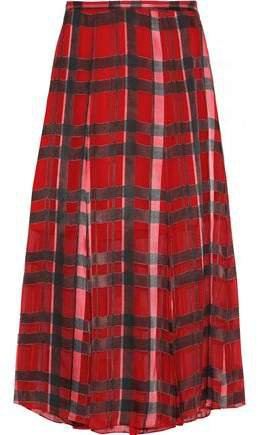 Athena Checked Burnout Georgette Midi Skirt