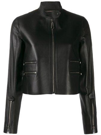 Fendi FF Logo Leather Jacket - Farfetch
