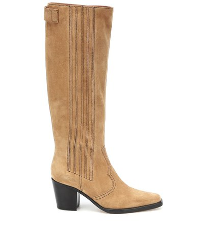 Western Knee-High Suede Boots   Ganni - Mytheresa