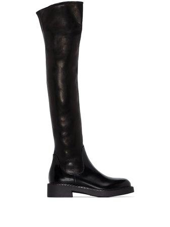 Prada leather knee boots - FARFETCH