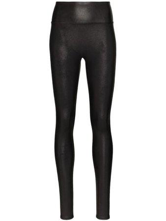 Black Spanx faux leather leggings 24372437P - Farfetch