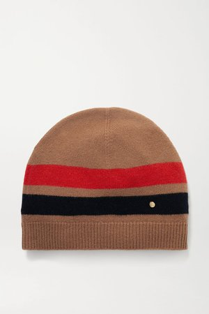 Camel Striped merino wool and cashmere-blend beanie | Burberry | NET-A-PORTER
