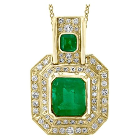 20 Carat Colombian Emerald and 5 Ct Diamond Pendent/Necklace 14 Karat Gold Estate For Sale at 1stDibs