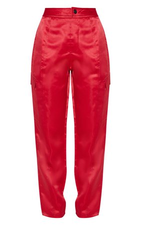 Red Contrast Stitch Pocket Cargo Trouser   PrettyLittleThing USA