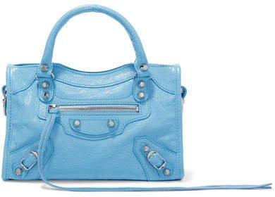 Classic City Mini Textured-leather Tote - Blue