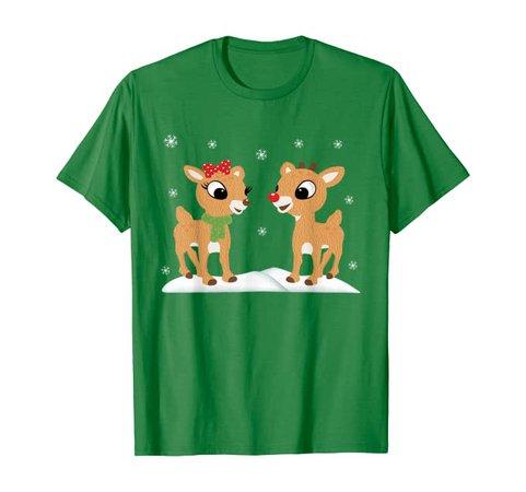 Amazon.com: Rudolph and Clarice Shirt Christmas Kids Girls Tee Reindeer: Clothing