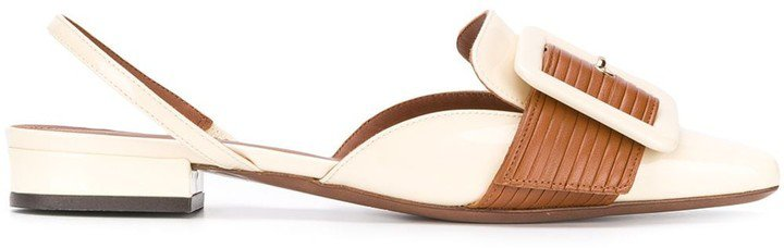 Square-Toe Buckle Slingback Flats