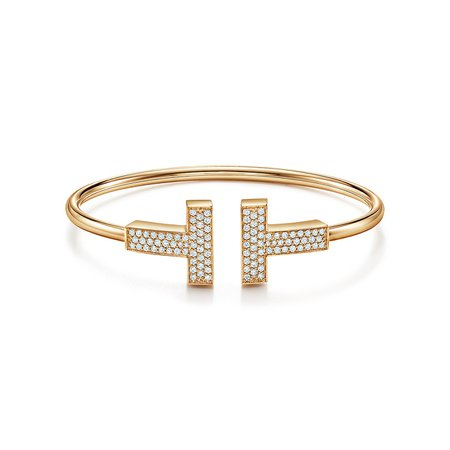Tiffany T large diamond wire bracelet in 18k gold, medium. | Tiffany & Co.