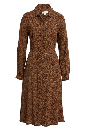 Treasure & Bond Floral Long Sleeve Shirtdress | Nordstrom
