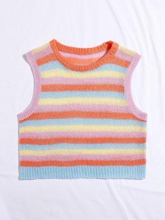 Rainbow Striped Crop Sweater Vest