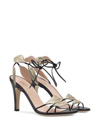 Black Gucci Leaf Details Sandals | Farfetch.com