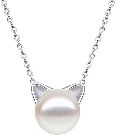 Amazon.com: S.Leaf Sterling Silver Cat Necklace Freshwater Cultured Pearl Cat Collarbone Charm Necklace: Jewelry