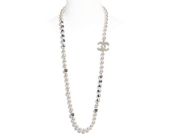 Long Necklace, metal, glass pearls, imitation pearls & strass, gold, pearly white, black & crystal - CHANEL