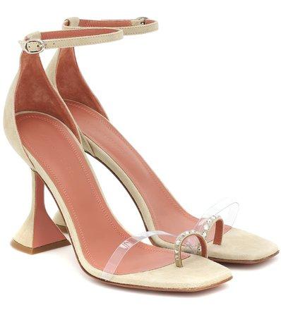 Amina Muaddi - Oya PVC-trimmed suede sandals   Mytheresa