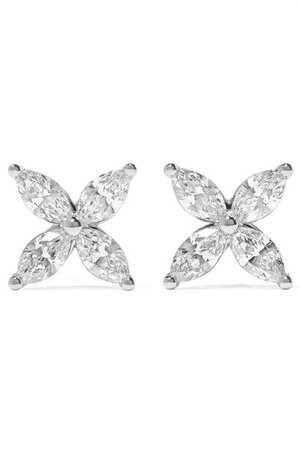 Tiffany & Co. | Boucles d'oreilles en platine et diamants Victoria | NET-A-PORTER.COM