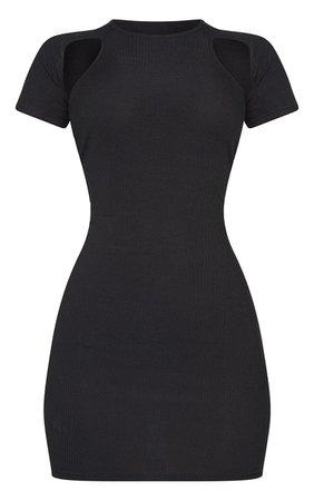 Black Rib Underarm Cut Out Bodycon Dress | PrettyLittleThing USA