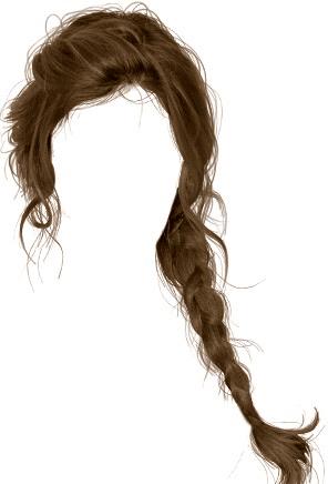 Brown braid doll hair png